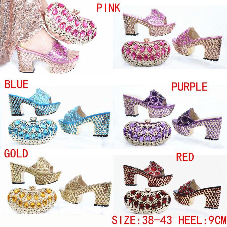Gratis Verzending Mooie Roze Schoenen Bijpassende Tas Voor Afrikaanse Aso Ebi Shining Big Stenen Slippers Schoenen En Koppelingen Tas SB8475 4 - 4