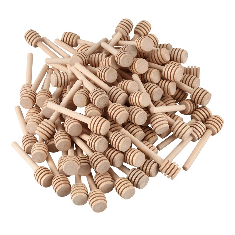 100 Pack Of Mini 3 Inch Wood Honey Dipper Sticks  Individually Wrapped  Server For Honey Jar Dispense Drizzle Honey  Wedding Par Coffee Scoops     - title=