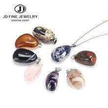 JDMen Raw Gems Black Strip Agate Charms Pendant for Necklace Rough Healing Free Shape Jasper Natural Stone Pendants