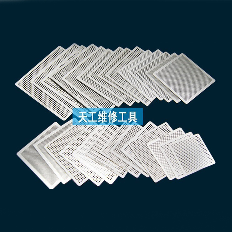 27pcs BGA Directly Heat Reballing Universal Stencils With Template Jig For SMT SMD Chip Rework Rpair