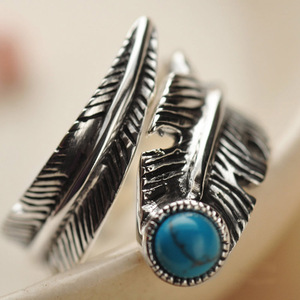 Image 3 - Real 925 Sterling Silver Rings For Men And Women Vintage Feather Ring With Natural Stone Jewelry Adjustable Opening Type