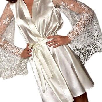 2019 New Hot Sexy Lingerie Silk Lace Black Kimono 1