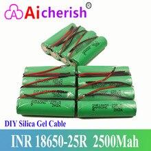 18650 Oplaadbare Batterij 3,6 V 2500Mah 100% Nieuwe Merk INR18650 25R M 20A Ontlading + DIY Silica Gel Kabel