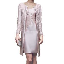 Большие размеры 2019, платья для матери невесты, облегающее до колен, с курткой, с аппликацией, кружевное платье для жениха, короткие платья