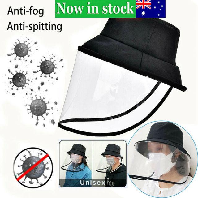 Anti-fog Saliva Face Masks Windproof Fisherman Hat Removable Protection Cap Protective Face Shield Transparent Mask