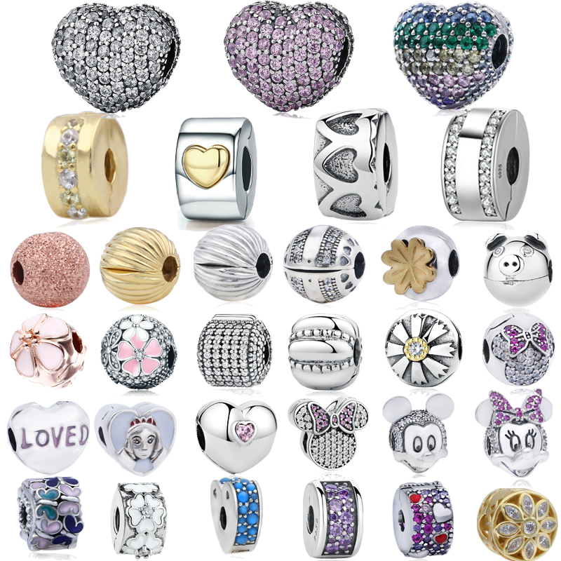 Genuine 925 Sterling Silver Charms Bloom,Love Heart Clips, fit Original Pandora Bracelet Women DIY Jewelry