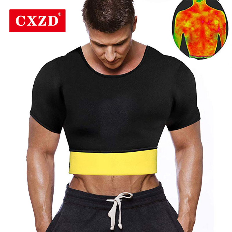 CXZD Men's Hot Thermo Body Shaper T-Shirt For Slimming Neoprene Bodysuit Workout Abdominal Trainer For Weight Loss
