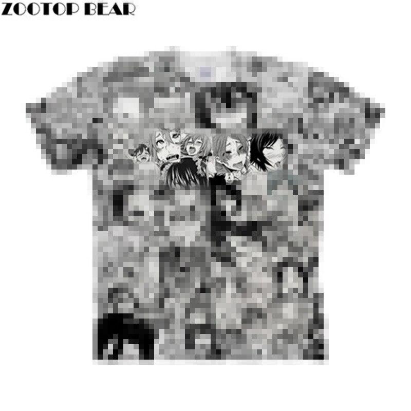 Open Mouth Ahegao 3D Print Women T Shirts Travel Summer Tshirt Men T-shirt Tee Short Sleeve Shirt Streetwear Dropship ZOOTOPBEAR