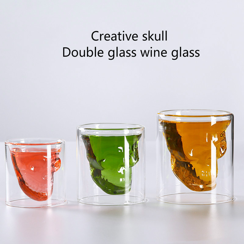 3 Capacity Creative Skull Whiskey Glass Cup Double-Layer Glass Spirits Vodka Cocktails 100-250ml Bar Coffee Cup Glassware image