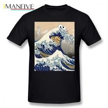 Cookie Monster T Shirt Funny Japanese Cookie Great Wave Off Kanagawa T-Shirt Mens Printed Tee Shirt Short Sleeve 4xl Tshirt недорго, оригинальная цена