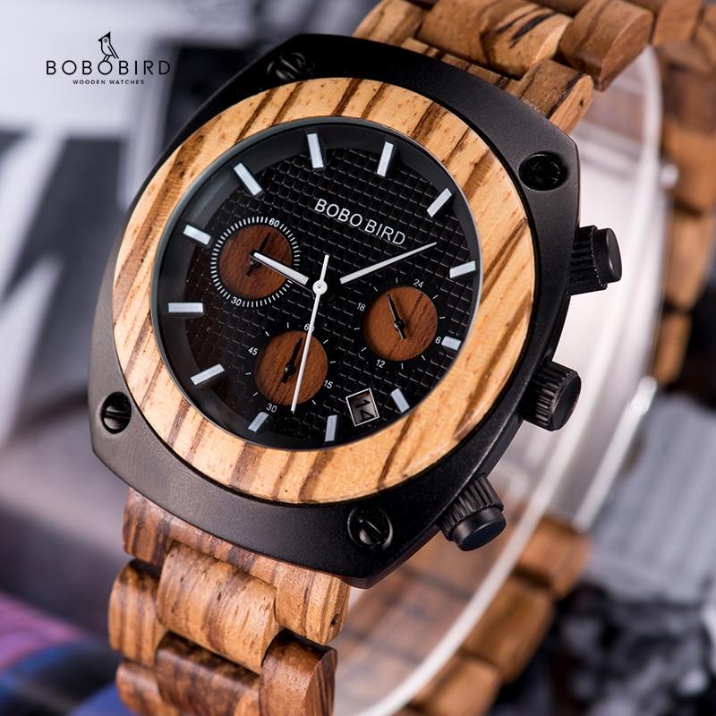 BOBO BIRD Wood Watch Men Stopwatches Handmade Relogio Masculino Japan Movement Quartz Wristwatch Gift For Male Erkek Kol Saati