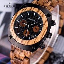 BOBO BIRD montre bracelet en bois pour hommes, fait à la main, mouvement japonais, montres à Quartz, cadeau