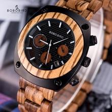 BOBO BIRD reloj de madera para hombre, cronómetros hechos a mano, reloj Masculino de cuarzo con movimiento japonés, reloj de pulsera de regalo para hombre erkek kol saati