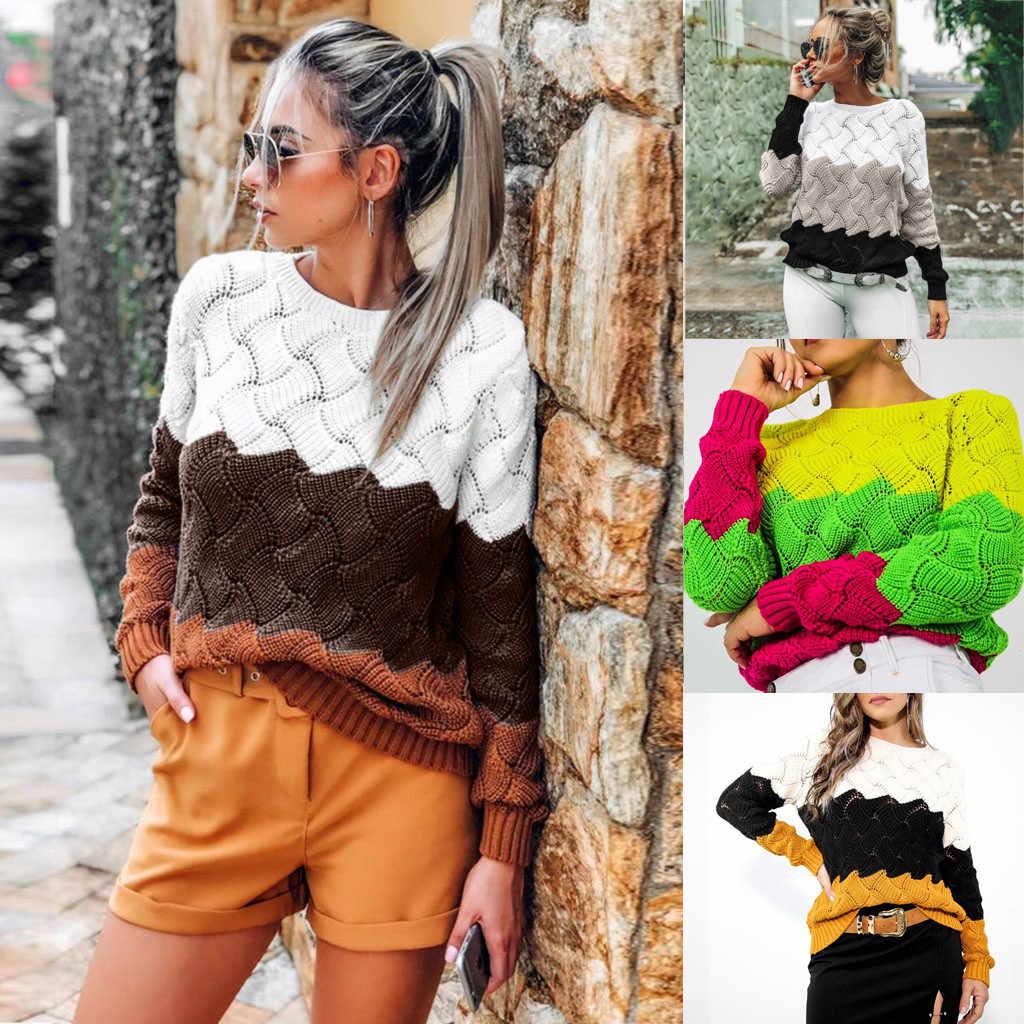 Kadın kazak bayanlar moda sonbahar kış rahat triko Slim Fit uzun kollu şerit o-boyun örme kazak Tops M840 #