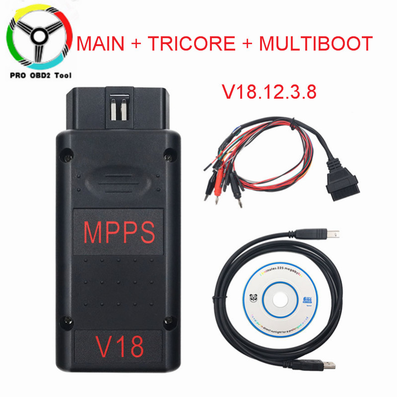 Newest MPPS V18 Better Than MPPS V16/V13 Version V18.12.3.8 MAIN+TRICORE+MULTIBOOT With Breakout Tricore Cable Car Tool