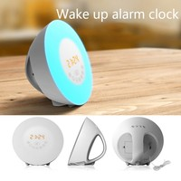 New Design USB Clock RGB LED Alarm Clock 7 Colors Light FM Radio Touch Control Wake Up Digital Clock