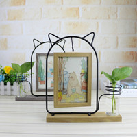 Creative 6 Inch Double sided Hydroponic Plant Photo Frame Wrought Iron Wood Set Table Home Photo Frame Desktop Fresh Decoration