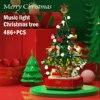 Christmas Tree Reindeer House Model Set Building Blocks Sound and Light Toys Urban Winter Brickheadz Santa Claus Elk New Year