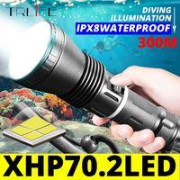 Linterna de submarinismo XHP70.2, luz LED potente de 30W, antorcha subacuática resistente al agua IPX8, XHP50 .2