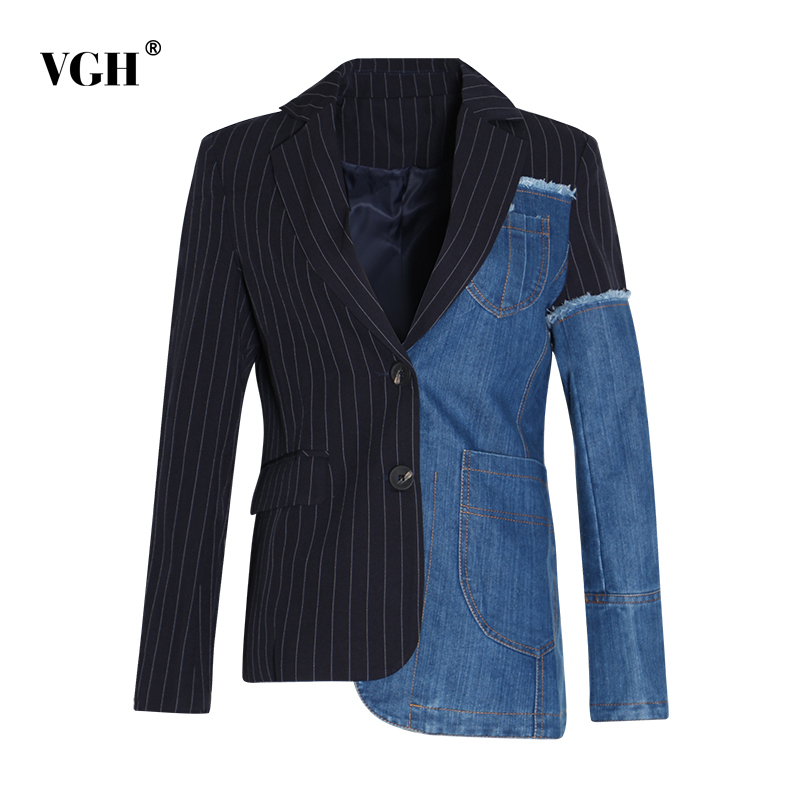 Blazer Coats Female Patchwork Long-Sleeve Casual Fashion Women Plus-Size Denim Notched
