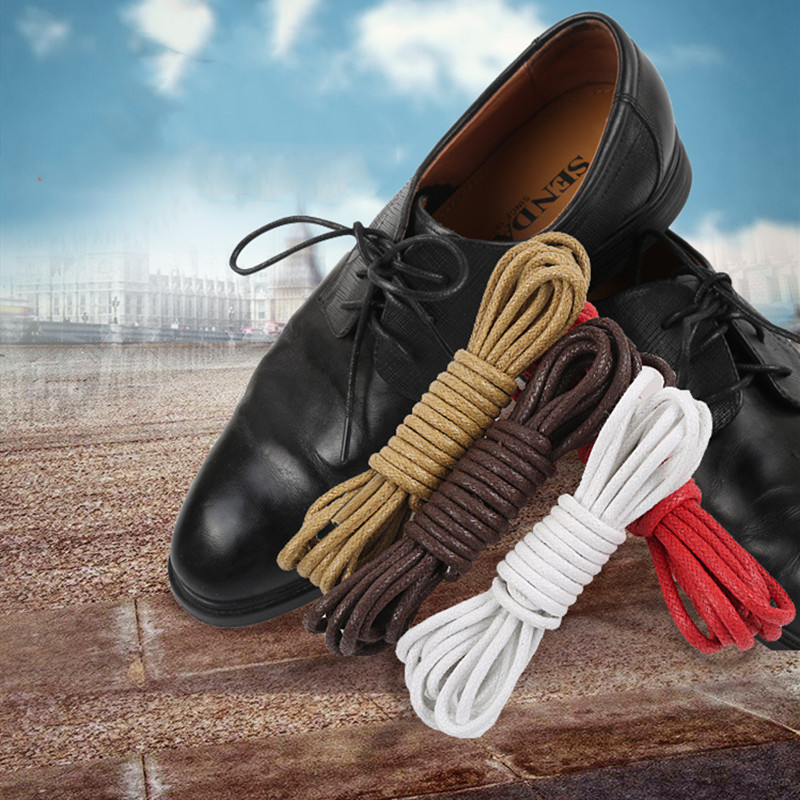 Hot 1Pair Waxed Cotton Round Shoe Laces Leather Shoes Lace Waterproof ShoeLaces Mens Martin Boots Shoelace Shoestring