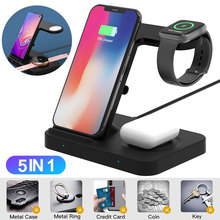 3 in 1 wireless charging stand for apple watch 4 3 airpods charging dock station qi 10w fast charger for iphone 11 x xs max xr 8 Fast Qi Wireless Charger Stand For iPhone 11 XS XR X 8 for Samsung S10 S9 10W 3 in 1 Charging Dock for Apple Watch