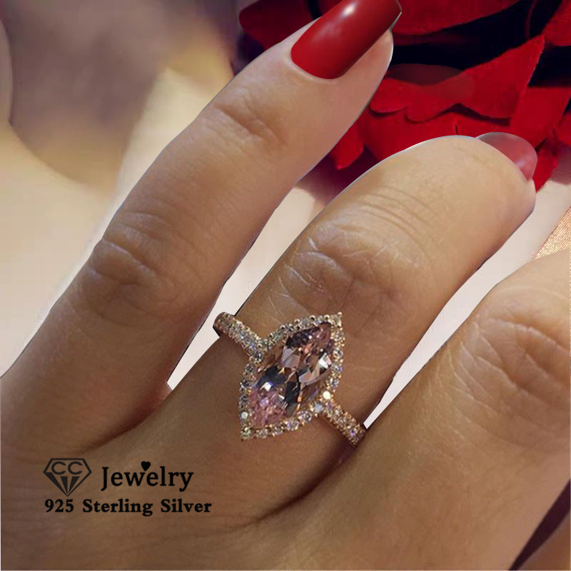 CC Rings For Women Fashion Champagne Cubic Zirconia Egg Shaped Wedding Engagement Ring Bridal Jewelry Drop Shipping CC2333