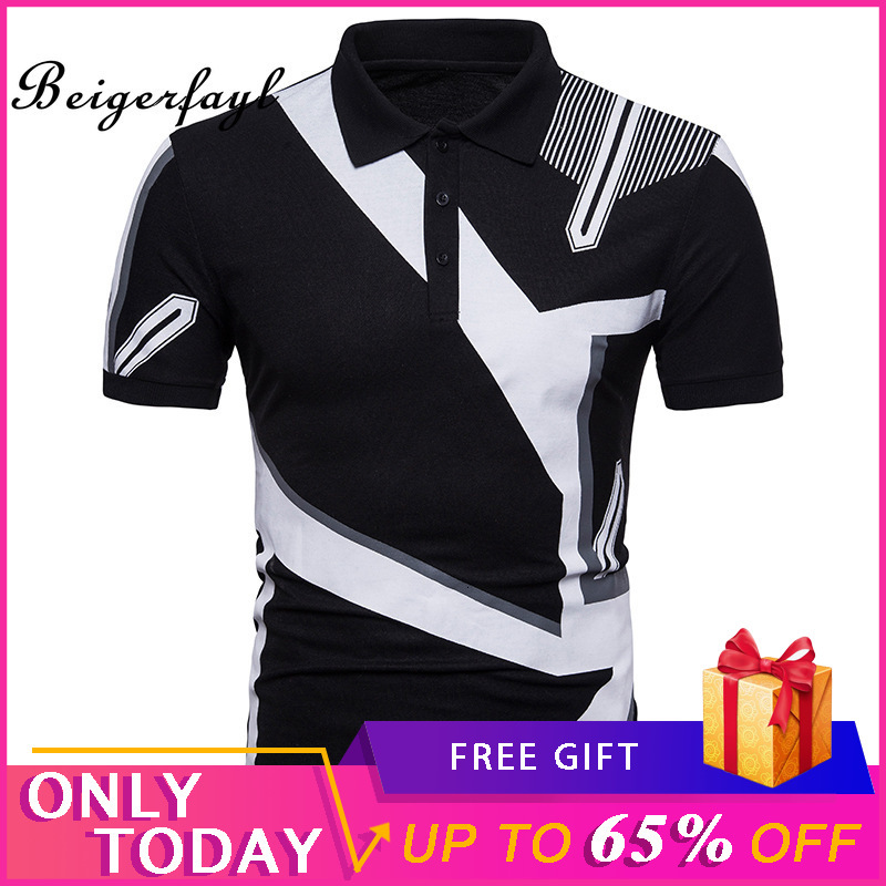 Beigerfayl 2019 New Geometric Print Men's Short Sleeve Q71 Mens Clothing   Polo   Slim Fit Casual Black And White For Male Polyester