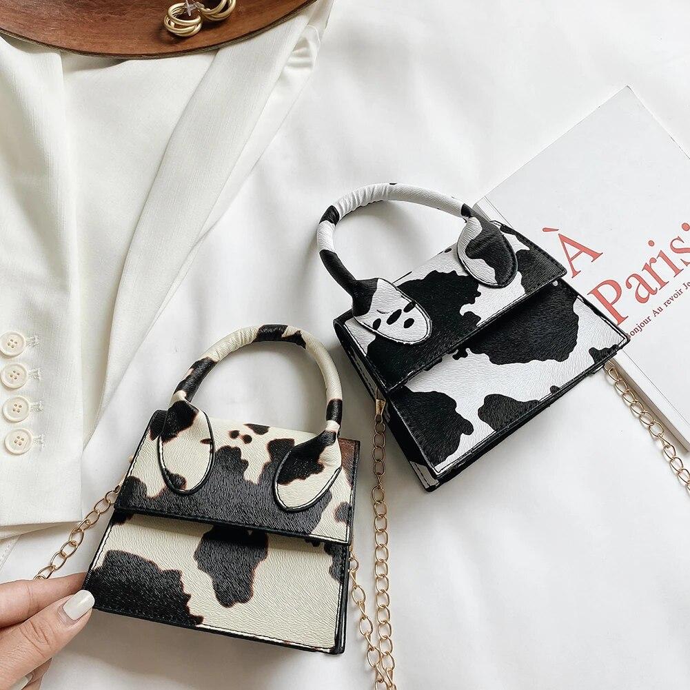 Fashion Cow Print Women Shoulder Bags PU Chain Mini Crossbody Handbags Tote