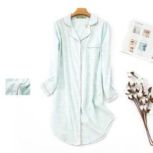 Image 3 - Женская длинная пижама из чистого хлопка, в клетку, большого размера, 2020