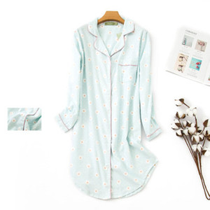 Image 3 - Pure Cotton Women Stitch Nightdress Plaid Femme Sleepwear Big Size Sexy Long Pyjama 2020 Fashion Homewear
