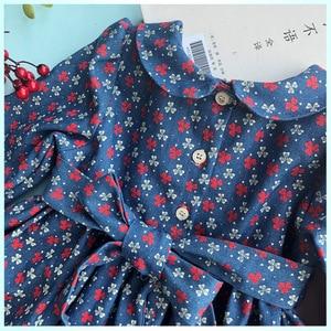 Image 3 - Nowa wiosna jesień dzieci Floral wydrukowano Peter Pan kołnierz ręcznie Smocking pas przycisk dziewczyny 3 7yrs z długimi rękawami sukienka bawełniana