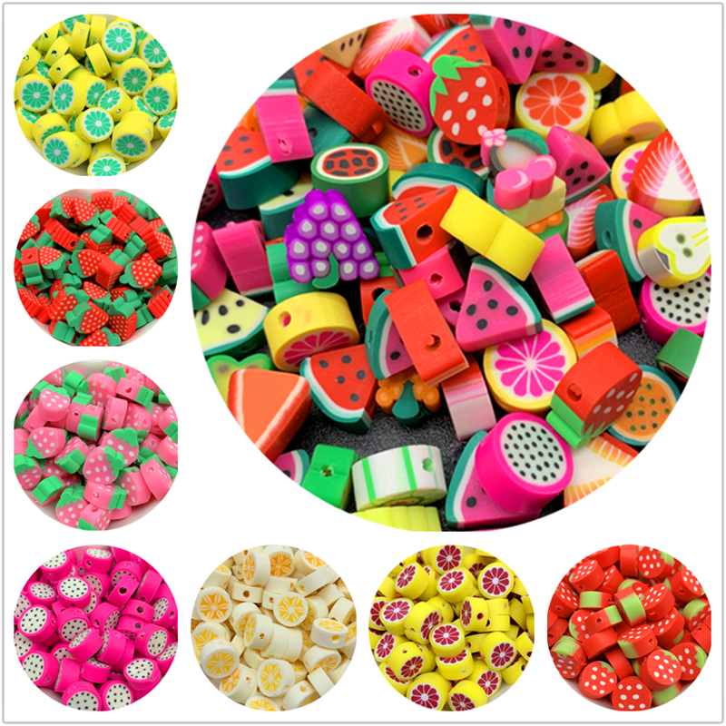 Clay-Spacer-Beads Handmade-Accessories Jewelry-Making Fruit-Shape Mixed-Colors 10mm