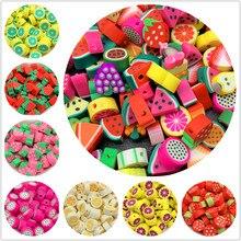 30 pçs/lote 10mm cores misturadas frutas forma argila espaçador grânulos de argila de polímero para fazer jóias diy artesanal acessórios