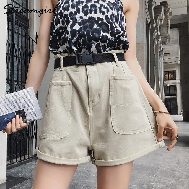 Summer High Waisted Shorts For Women With Belt Loose Short Jeans Women Denim Shorts With Pockets Jeans Short Woman Casual 2