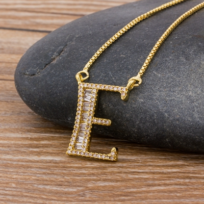 Luxury Gold Color A-Z 26 Letters Necklace CZ Pendant for Women Cute  Initials Name Necklace Fashion Party Wedding Jewelry Gift 21