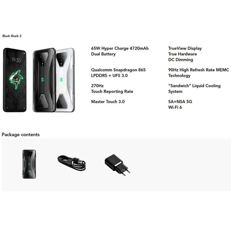Global Version Xiaomi Black Shark 3 8G 128G Gaming 5G Mobile phones Octa Core 4720mAh 6.67