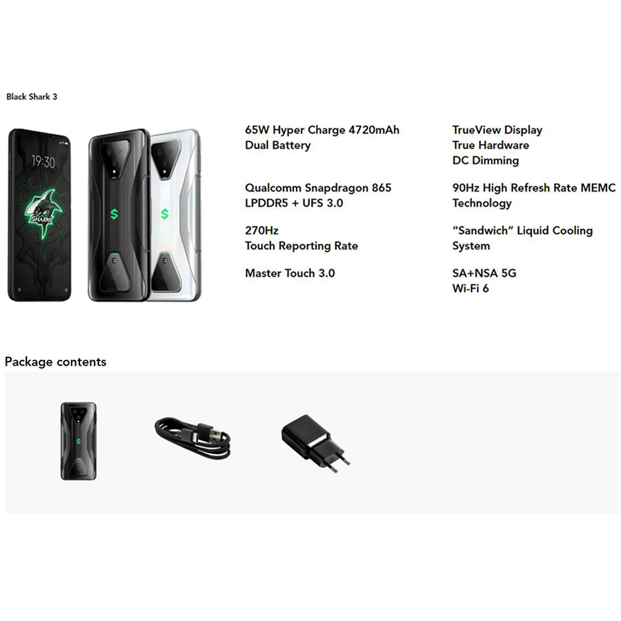 Original Xiaomi Black Shark 3 Global Version 8G 128G Gaming 5G Mobile phones Octa Core 4720mAh 6.67