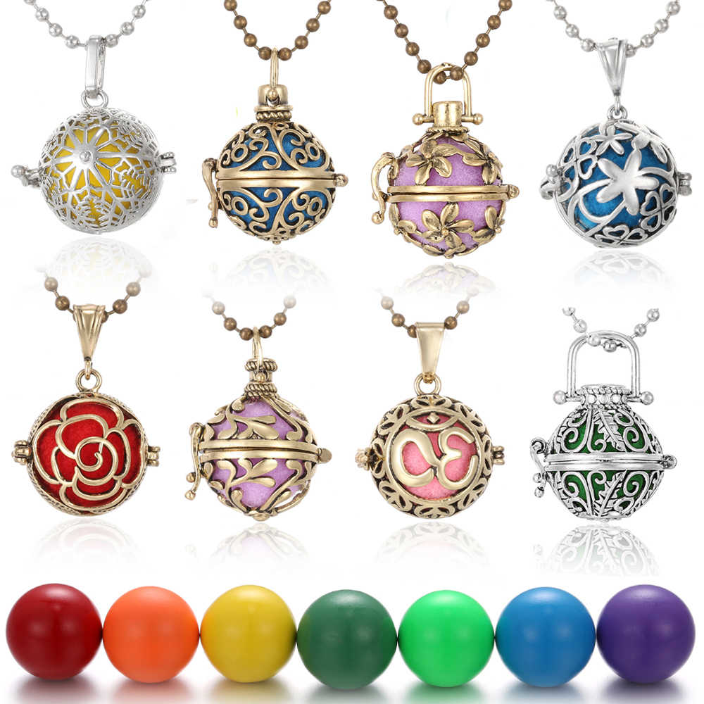 Mexico Chime Music Angel Ball Caller Locket Necklace Vintage Pregnancy Necklace for Aromatherapy Essential Oil Pregnant Women