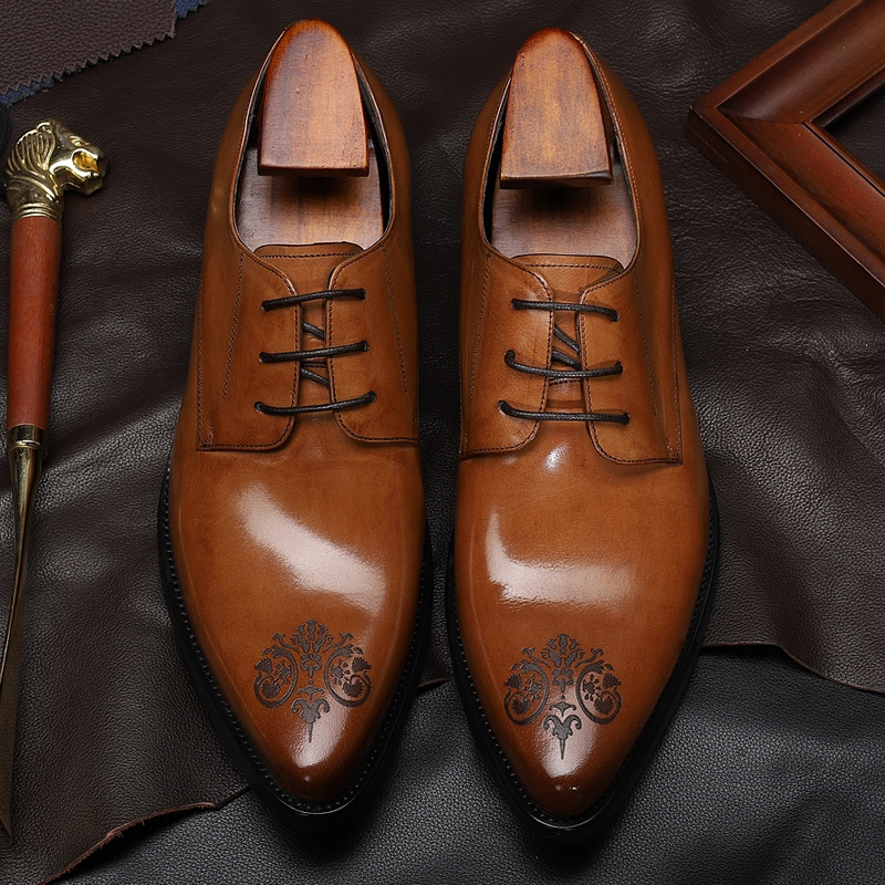 New Arrival Man Formal Dress Shoes Genuine Leather Laces Derby Wedding Oxfords Pointed Toe Men's Handmade Office Flats DX106