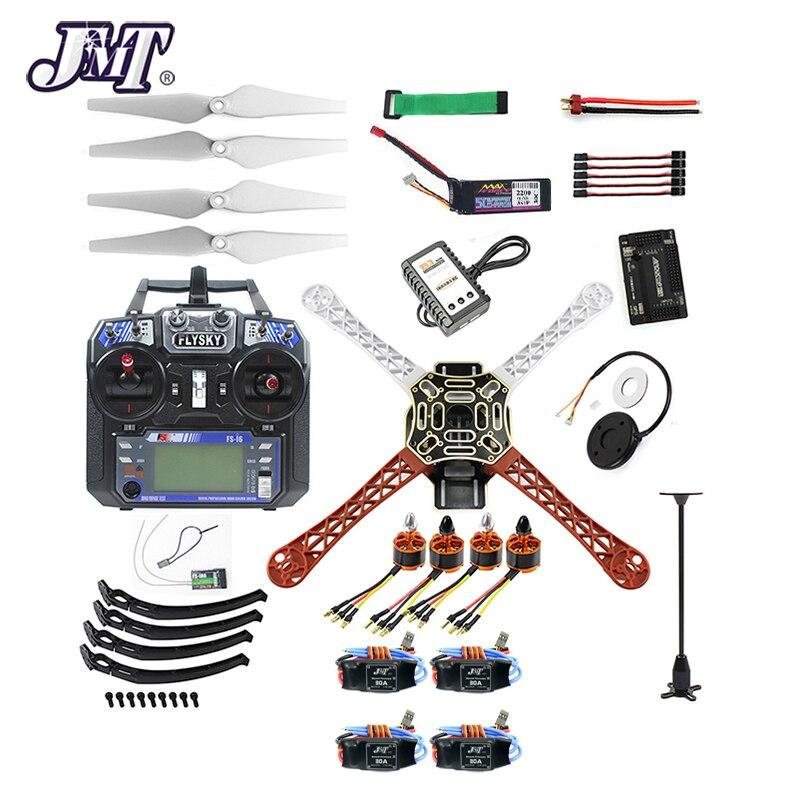 JMT Full Set 4-axle DIY RC Drone Quadrocopter F450-V2 Frame GPS APM2.8 Flight Controller Flysky FS-i6 Transmitter Receiver GPS