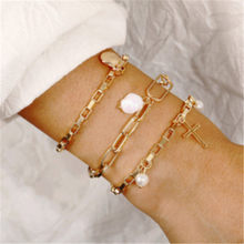 Handmade Natural Freshwater Pearl Bracelet Gold Metal Hand Jewelry Irregular cross Bangle for Women bracelets for women armband(China)