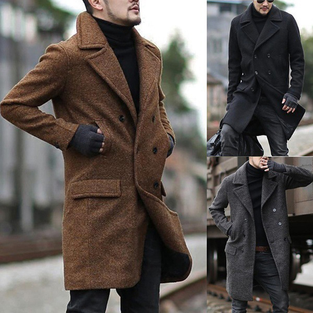 New Mens Trench Coats Solid Fashion Streetwear Pockets Buttons Casual Single-breasted Turn-down Collar Winter Warm Overcoats