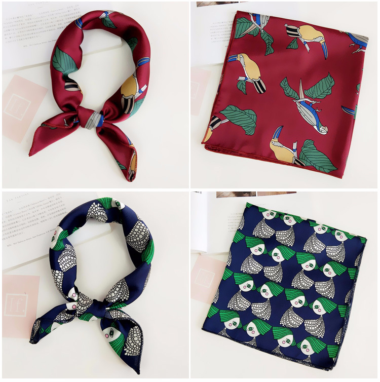 H343d4f8a8e6e4f39a6ae2e6dfce8cde8a - Square Scarf Hair Tie Band For Business Party Women Elegant Small Vintage Skinny Retro Head Neck Silk Satin Scarf