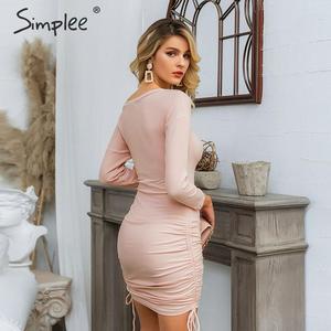 Image 3 - Simplee femmes élégantes robe tricotée élastique grande taille cordon sexy automne robe moulante hiver dame fête mini robe vestidos