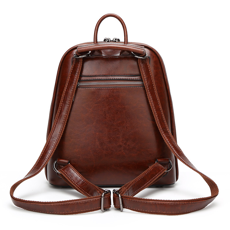 Backpack Leather Women's 2019 New Style Fashion Retro Oil Wax Leather Travel Bag WOMEN'S Backpack WOMEN'S Bag