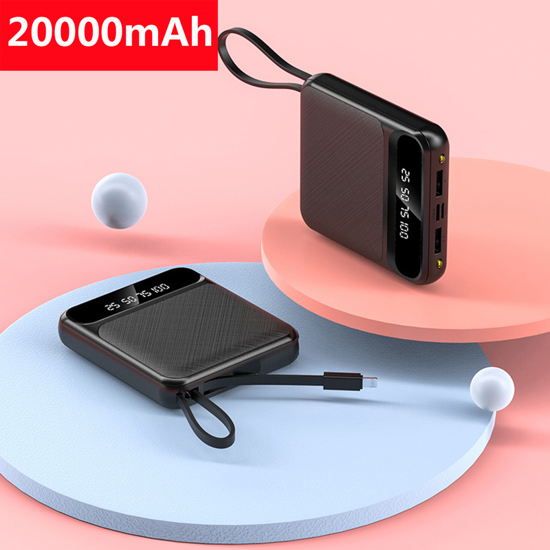 20000mAh Mini Power Bank Portable External Battery Fast Charger Powerbank For Xiaomi Mi iPhone 11 Samsung S8 S9 Mini Pover Bank|Power Bank| |  - title=