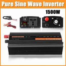 Pure Sine Wave inverter 1500W 12V/24V/48V 220V Voltage Transformer DC12V to AC 220V 50HZ Car Power Inverter With LCD Display