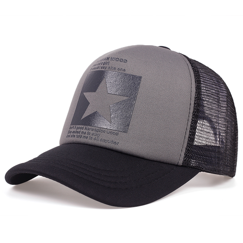 New Five-pointed Star Printed Baseball Cap Spring Summer Breathable Net Caps Men Women Outdoor Sun Shade Hat Adjustable Wild Hat