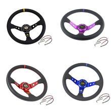 Sport Steering Wheel Universal 14 inch/350MM PVC Leather Auto Racing Steering Wheels Car Modification Accessories 350mm real leather steering wheel universal 14 inch flat steering wheel with black spoke